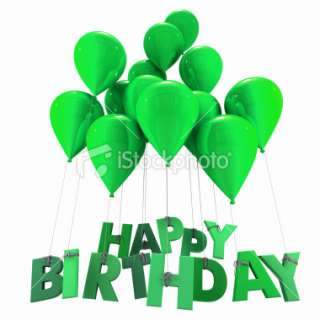 Happy birthday with green balloons Royalty Free Stock Photo