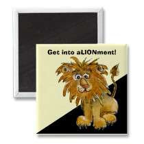 Cartoon Lion Get Into Alignment Square Magnet magnets by zooogle