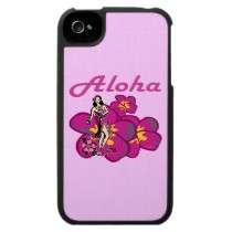 Aloha Blue Hula Girl Tropical HIbiscus Flower Iphone 4 Cover by Party