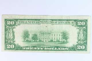 1928 A $20 Twenty Dollar Bill Federal Reserve Bank Note Woods Mellon