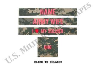 Army Army Wife ACU Name Tape Set w/o Velcro