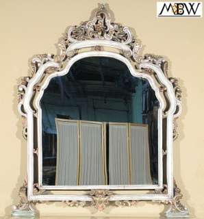 Solid Wood Antique White Finish Hand Carved Wall Table Hanging Mirror