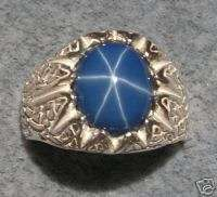 MENS 12X10MM LINDE BLUE STAR SAPPHIRE CREATED S/S RING