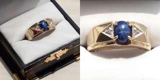 BEAUTIFUL Mens BLUE STAR SAPPHIRE Ring ~~ 10K
