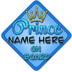 Personalised Baby On Board Car Sign Blue Prince Bright