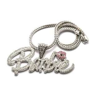 Iced Out Unique Large Silver with Pink Lips Barbie Nicki Minaj with 18