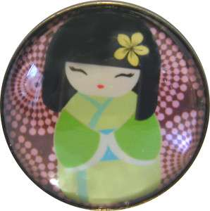 Japanese Kokeshi Doll Crystal Dome Button #8