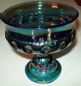 CARNIVAL GLASS BLUE PEDESTAL CANDY DISH/ COMPOTE BOWL KINGS CROWN