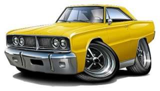1966 Dodge Coronet Muscle Car Cartoon Tshirt FREE