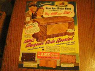 1942 Lane Cedar Hope Chest Large Ad Sweethearts Start Your Dream Home
