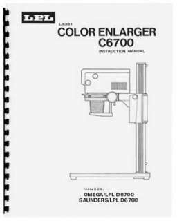 LPL 6700 Dichroic Color Enlarger Instruction Manual