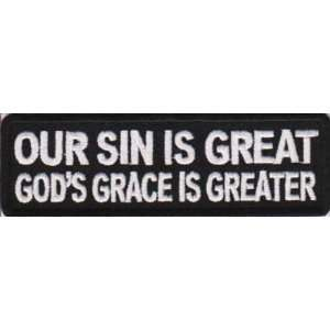 GRACE IS GREATER Christian Quality NEW Biker Patch: Everything Else