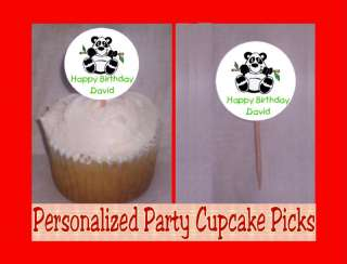 Panda Bears Personalized Birthday Cupcake Picks Toppers