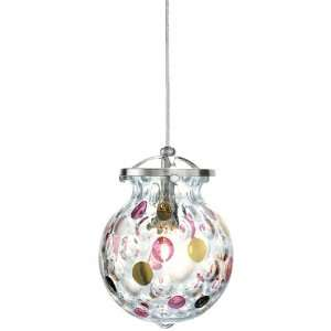 Daisy Low Volt Glass Round Pendant, 1 Light, 50 Watts Halogen, Nickel
