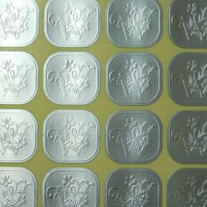Monogram Embossed Silver Wedding Invitation Envelope Seals Sticker