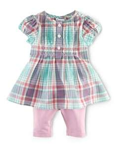 Ralph Lauren Childrenswear Infant Girls Madras Dress & Leggings Set