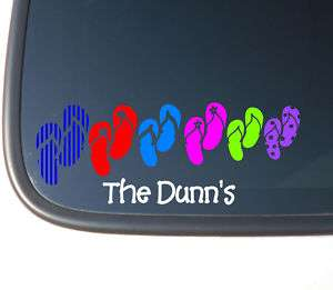 Flip Flop Family Personalized Vinyl Car Decal Sticker