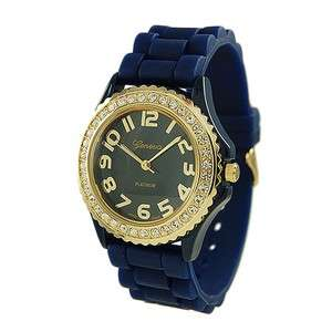 NEW Geneva Navy Blue Gold Face SILICONE RUBBER JELLY WATCH With