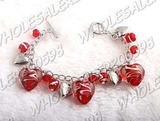 WHOLESALE 6strands Handwork Heart Glass Bead Bracelets