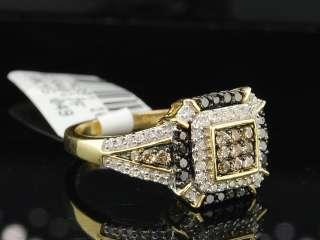 10K LADIES YELLOW GOLD CHOCOLATE BROWN & BLACK DIAMOND ENGAGEMENT