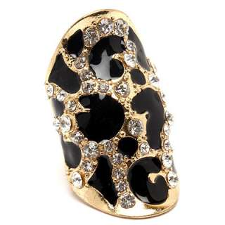 Crystal Black Enamel Gold Tone Zebra Stretch Adjustable Ring