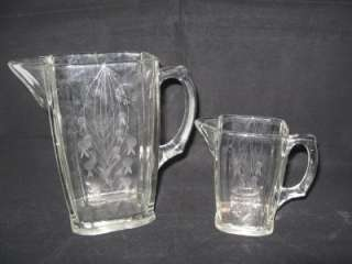 MATCHING FLAT BOTTOM ETCHED GLASS MILK & CREAM PITCHERS