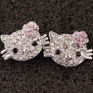 1Pair Clear Pink Crystal Hello kitty* Charms Earrings Earbob Ear Stud