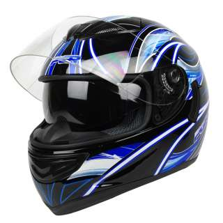 Blue Dual Visor Motorcycle Full Face Helmet DOT APPROVED ~ L