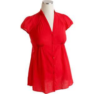 Maternity Cap Sleeve Button Down Tunic Blouse Maternity Wear