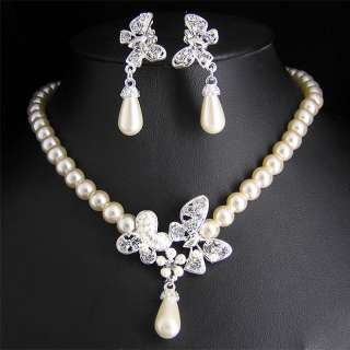 Wedding Bridal pearl &crystal necklace earring set S296