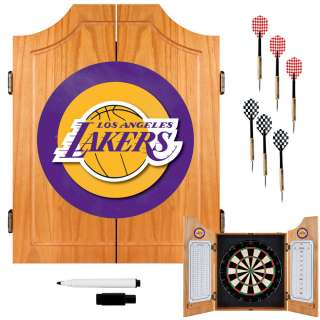 Los Angeles Lakers NBA Basketball Wood Dart Cabinet Set 886511030893