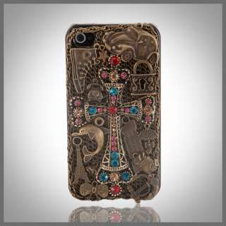 FOR IPHONE 4 4G ANTIQUE METAL BLING RHINESTONE CROSS EIFFEL TOWER CASE