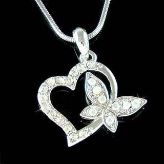 Swarovski Crystal Valentine ~Love HEART BUTTERFLY Pendant charm