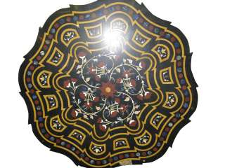 Floral Carved Black Marble Table Top 47x47