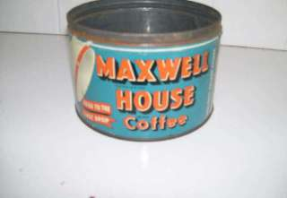 Maxwell House Coffee Tin, Orange, Blue, White, No Lid