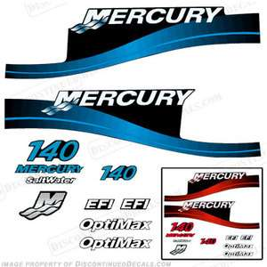 Mercury 140hp Outboard Decal Kit Blue or Red Available