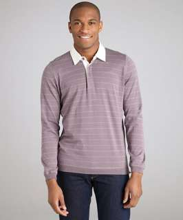 Brunello Cucinelli purple striped cotton long sleeve polo shirt