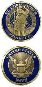 SAINT ST CHRISTOPHER NAVY PROTECT US CHALLENGE COIN