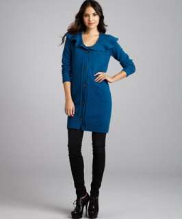 Love Moschino cerulean knit wool shawl neck long sweater jacket