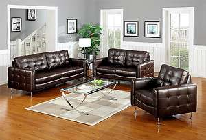 Modern Brown Tufted Leather Sofa Loveseat Chair Living Room Set |