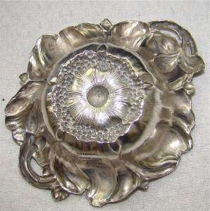 WILD ROSE ANTIQUE STERLING SILVER PIN TRAY BOWL OPEN SALT CELLAR DISH