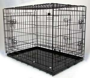 XL fold flat Black 4 Door Pet Puppy Dog Metal Cage   Travel Car Crate