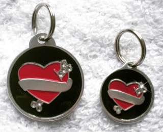 Bling Tattoo Hear Designer Pet/Dog/Cat Collar Tags♥