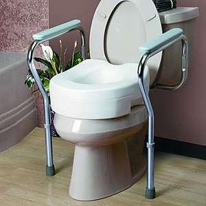 Toilet Safety Frame Grab Bar Hand Rails + Raised Toilet Seat