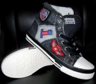 Mens Black high top canvas sneaker shoe SZ 7.5 12 US