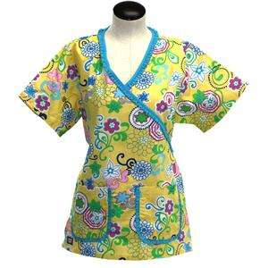 Scrubs Medical Nurse Dental Beautician Yellow w Turquoise trim Style