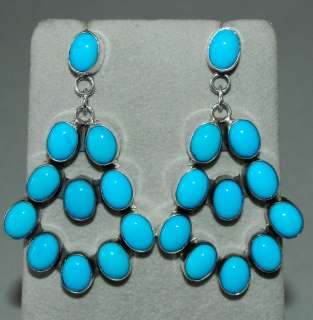 Navajo Sleeping Beauty Turquoise Sterling Dangle Earrings Signed