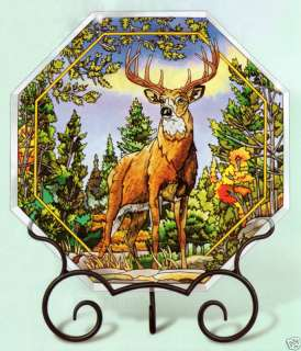 DEER BUCK STANDING PROUD 12 TABLE TOP PANEL with STAND
