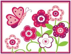 FLOWER GARDEN PINK GREEN BABY GIRL NURSERY WALL BORDER STICKERS DECALS