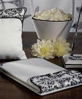 Wedding LOVE BIRD DAMASK Guest Book, Pen, Flower Basket, Ring Pillow